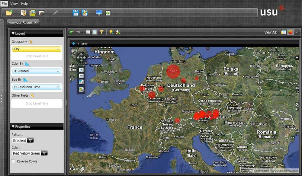 USU Service Intelligence: In der geografischen Ansicht werden die Daten farblich und geometrisch angezeigt.