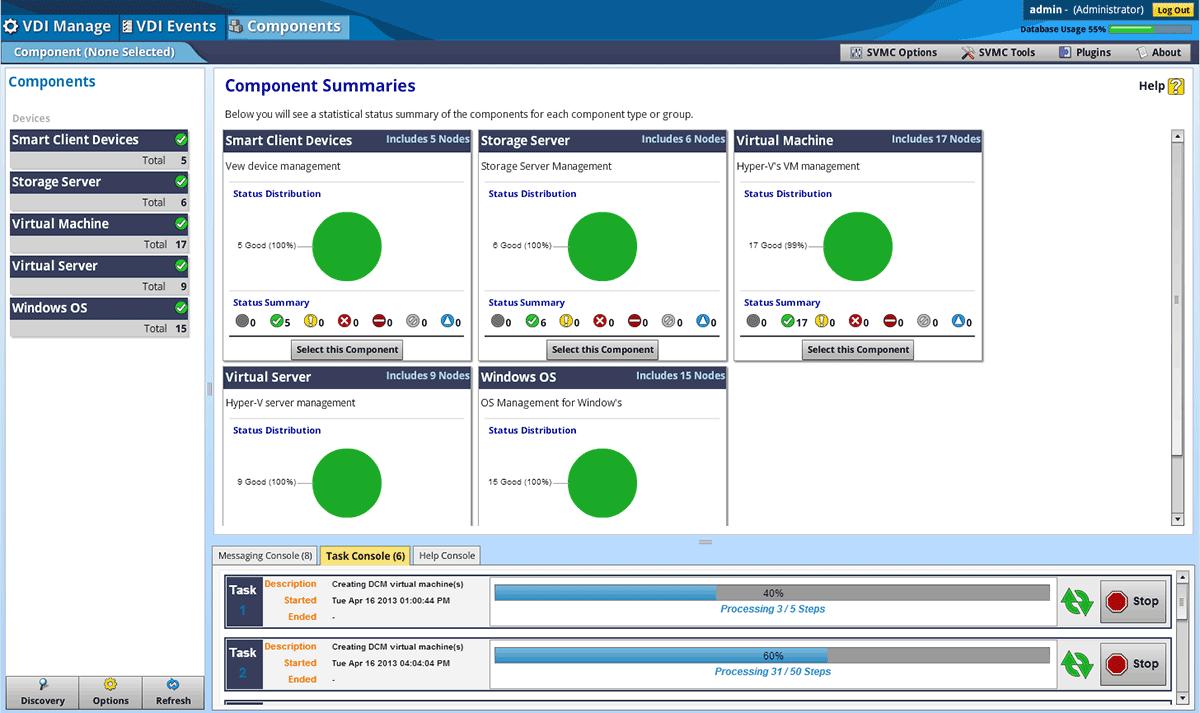 Im SnapVDI-Dashboard lassen sich in den »Component Summaries«  die statistischen Daten der einzelnen Komponenten oder Gruppen übersichtlich darstellen.