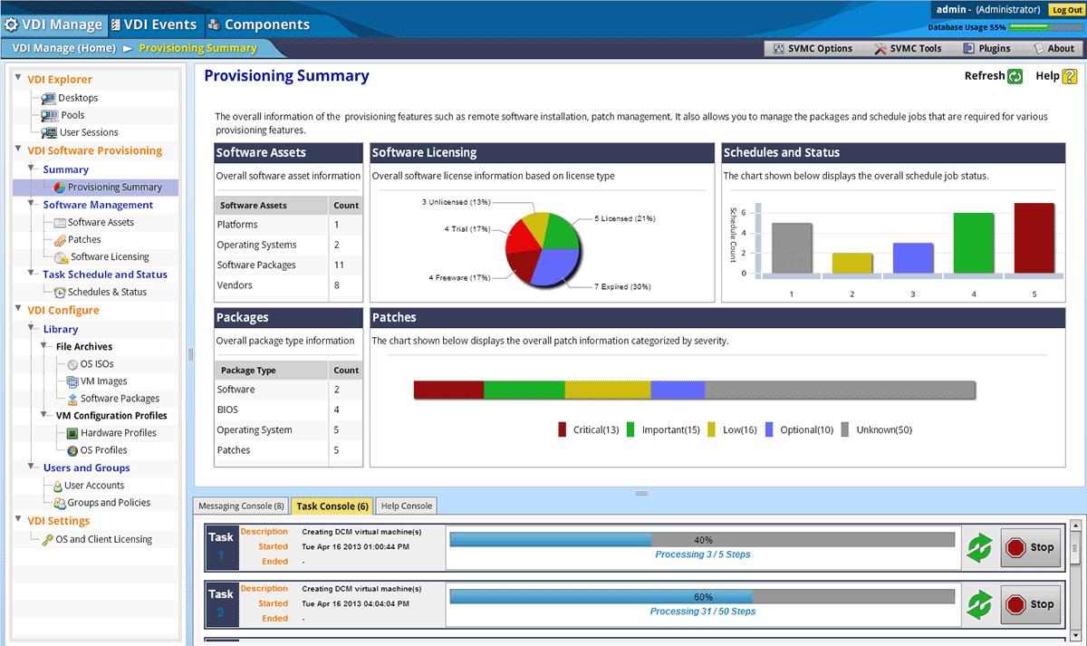 Im SnapVDI-Dashboard wird in der »Provisioning Summary« die  Gesamtinformation zu den Provisioning-Features wie Remote-Software-Installation oder Patch Management angezeigt. Es lassen sich aber  auch die Pakete verwalten und die Jobs planen.