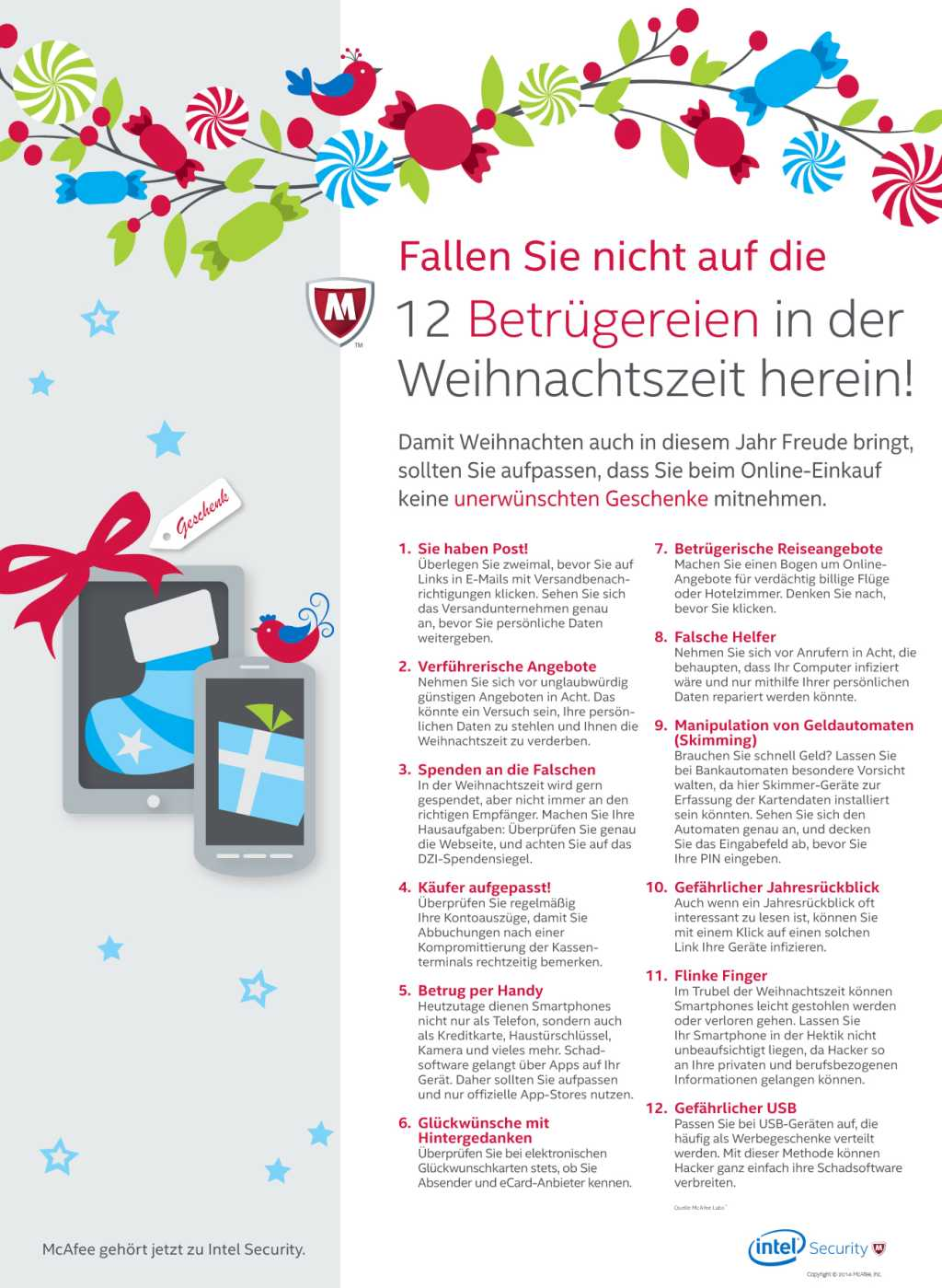 infografik McAfee 12 Holiday Scams 2014