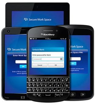 screen (c) blackberry secure work space