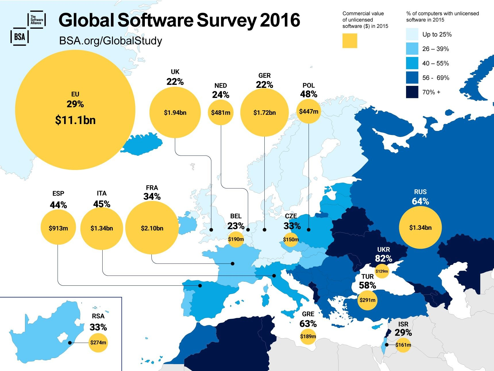 infografik bsa software lizenzen raubkopien