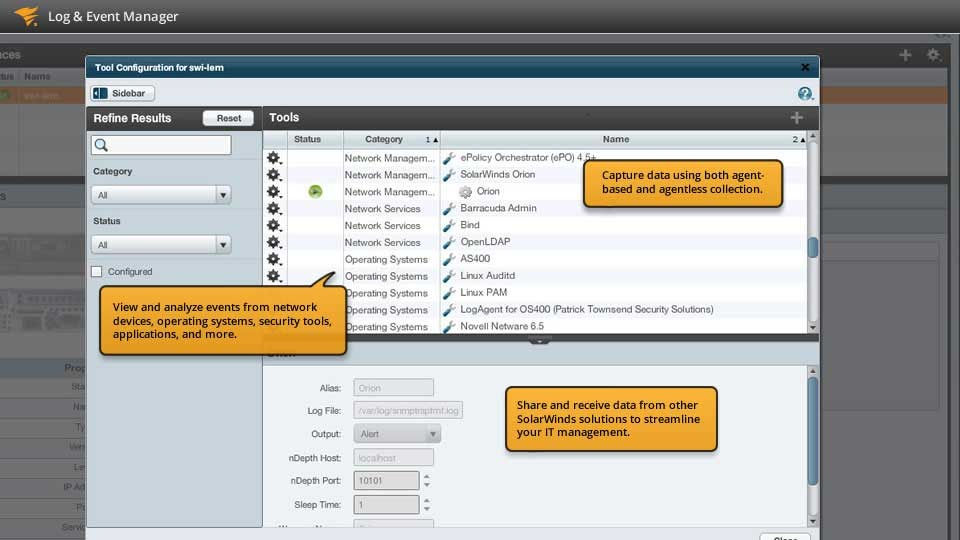 screen (c) solarwinds log and event manager