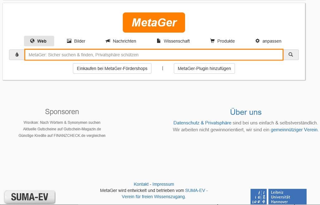 screen (c) metager suchmaschine spende
