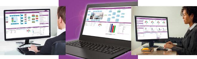Die Darstellungsschicht ist die oberste Ebene von IFS EOI. Als Anwenderoberfläche fungieren die Unternehmenscockpits, in denen alle geschäftlichen Informationen für eine bestimmte Unternehmensfunktion zusammenlaufen. Die Apps lassen sich mithilfe von Web-Technologien auf einem Desktop-PC, Laptops oder auf Tablets verwenden. Dabei werden mehrere Browser unterstützt.