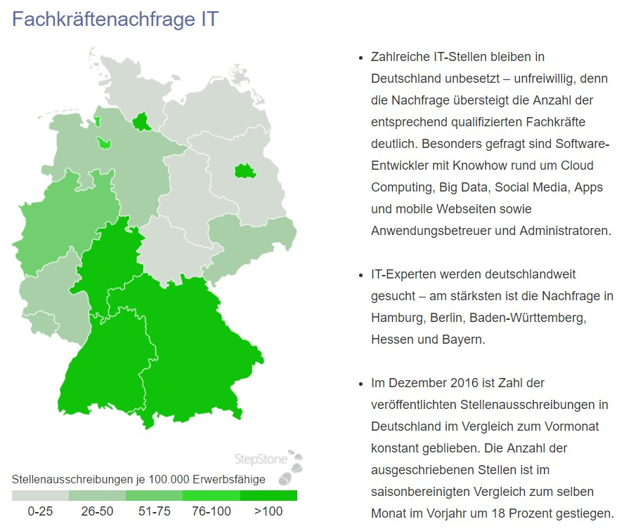 grafik stepstone fachkräftenachfrage it dez 2016