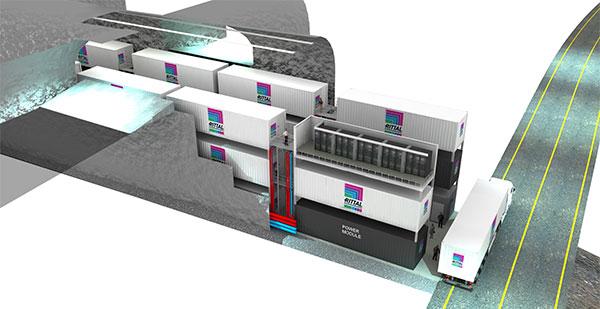 Abbildung 3: Lefdal Mine Datacenter in Norwegen basiert auf einem modularen Gesamtkonzept, dass Kapazitäten für bis zu 1.500 Container mit einer Kühlleistung bis 200 Megawatt vorsieht.