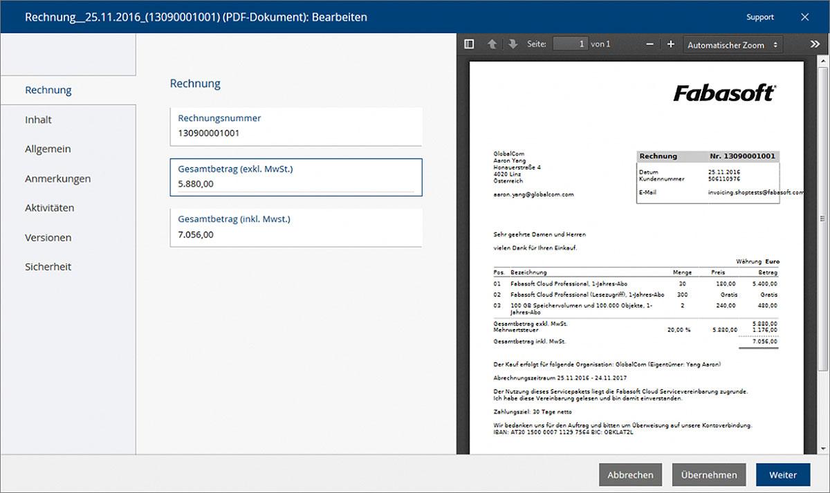Metadaten (wie zum Beispiel hier der Gesamtbetrag einer Rechnung) können in der Fabasoft Cloud einerseits manuell zugewiesen werden, andererseits aber auch automatisch aus den Dokumenten extrahiert werden. Diese Metadaten können dann für die Steuerung von digitalen Geschäftsprozessen verwendet werden.