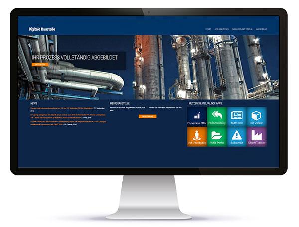 Das Standortinformationssystem des Fraunhofer IFF zur Virtualisierung von Industrieparks unterstützt auch die Virtualisierung von Baustellen und unterstützt so ihre Digitalisierung. Über ein Cloud-basiertes Bauherren-Kontraktoren-Portal ist die Interaktion mit externen Partnern möglich.