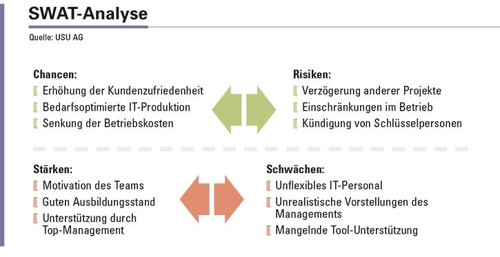 Abbildung 2: Gegenüberstellung von Chancen und Risiken und Stärken und Schwächen der Maßnahmen zur Einführung einer servicezentrierten Organisation.