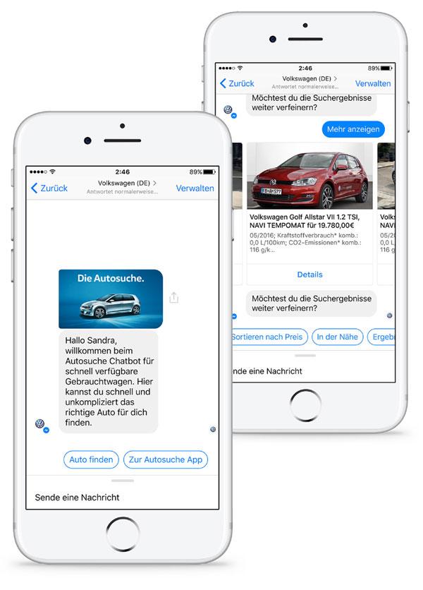 Mehr als die Hälfte der im Facebook-Messenger gestarteten Konversationen mit dem »Golf Konfigurator Chatbot« endeten in einer abgeschlossenen Konfiguration auf der Website.