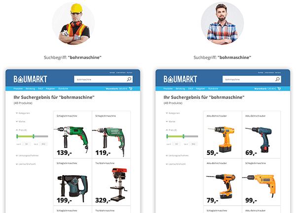 Abbildung 3: Personalisiert – jeder Kunde bekommt sein individuell angepasstes Suchergebnis.